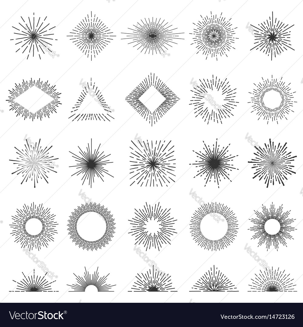 Set of 25 line light rays sunburst Royalty Free Vector Image for Vector Light Rays Vintage  110zmd