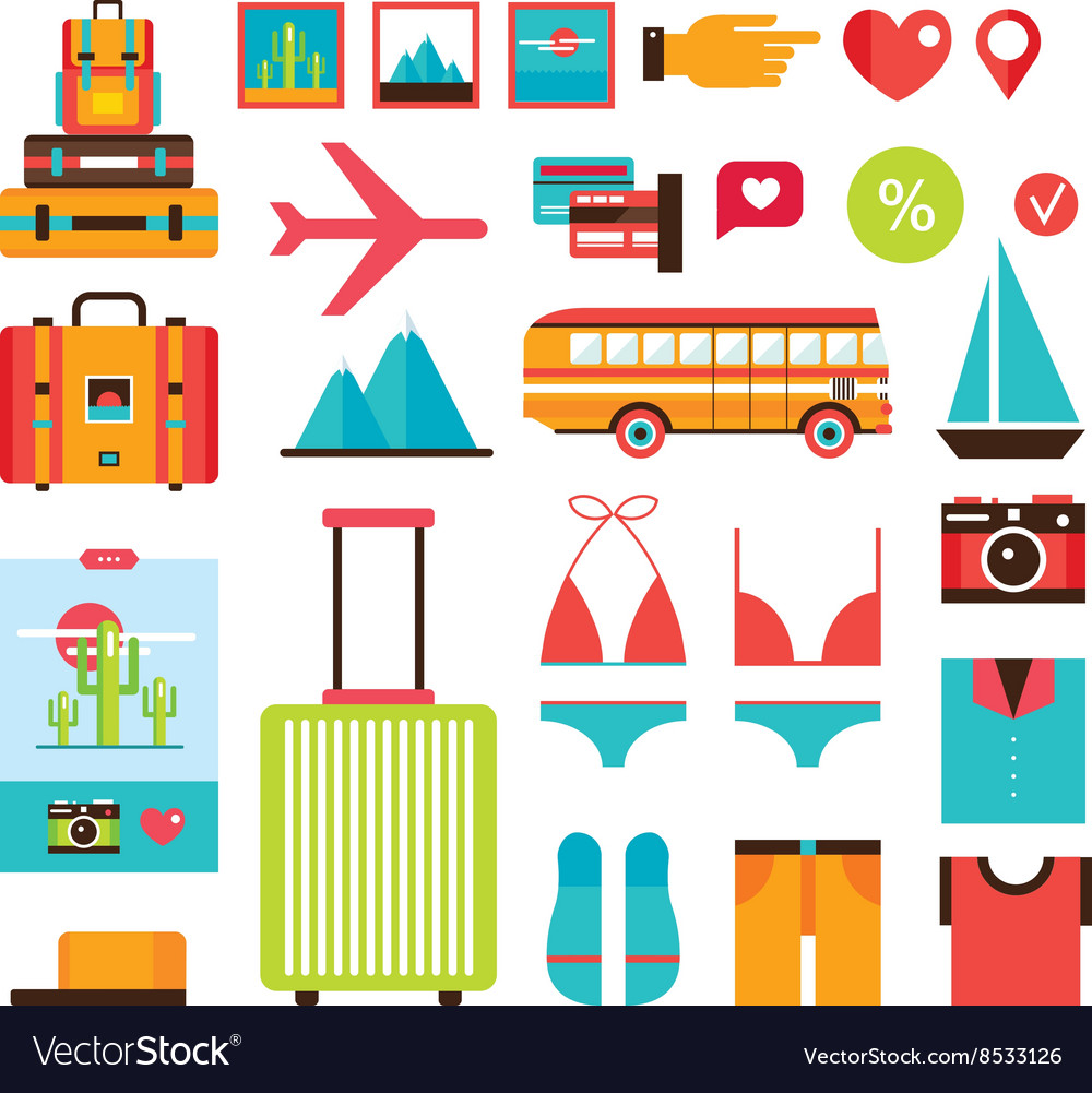 Tourism Vacation Summer trip icon collection vector image