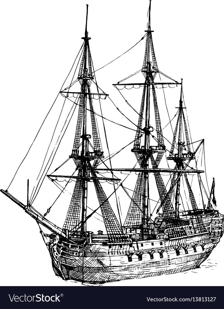18th-century cargo ship vector image