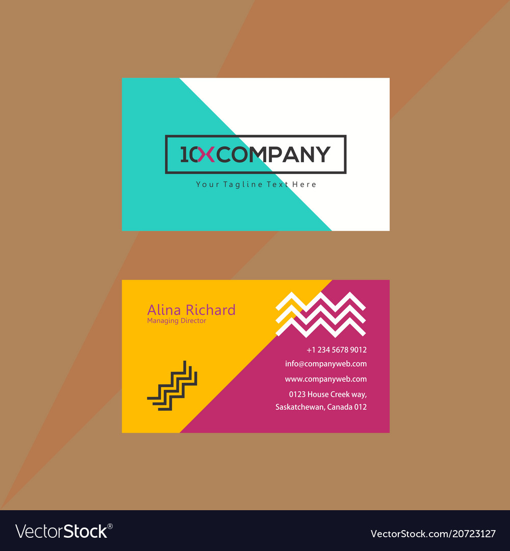 Multicolored chevron business card with artistic Vector Image