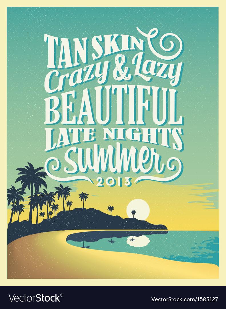 Design poster retro - Retro Vintage Summer Poster Design With Typography Vector Image