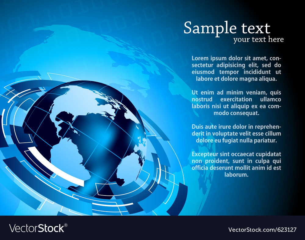 Tech background with globe vector image