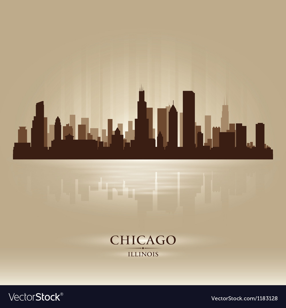 Chicago Illinois skyline city silhouette vector image