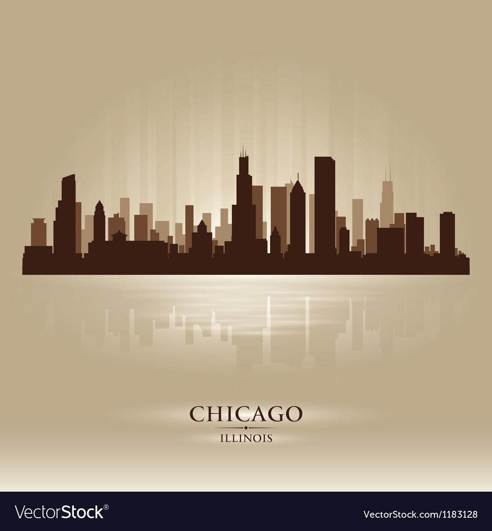 Chicago Illinois skyline city silhouette vector image