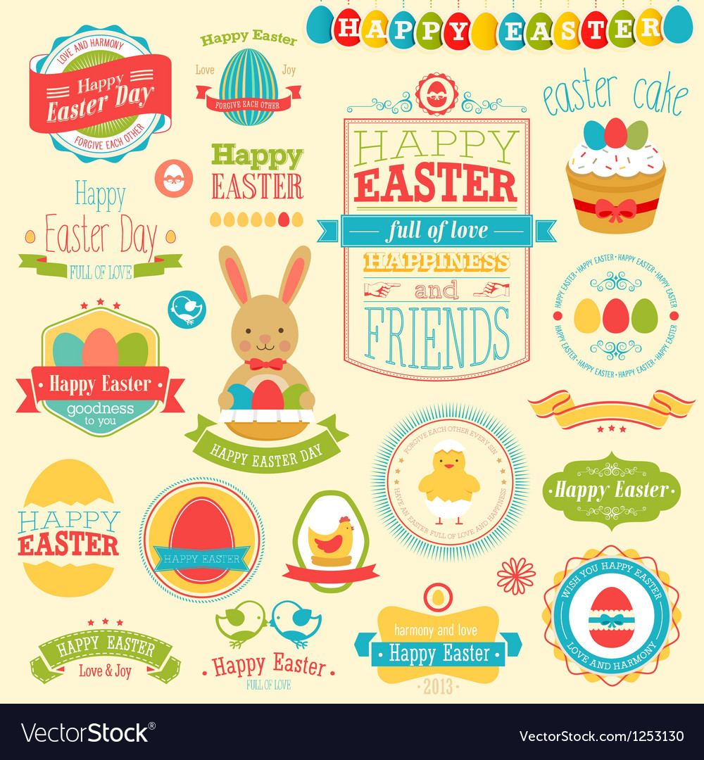 Easter labels vector image