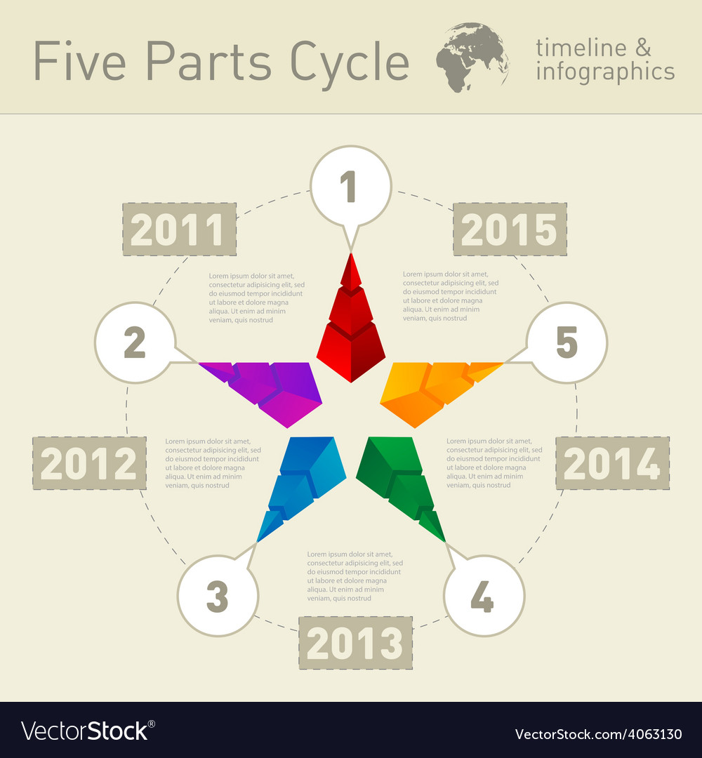 Five Parts Infographic Timeline Design Template Vector Image - Timeline design template