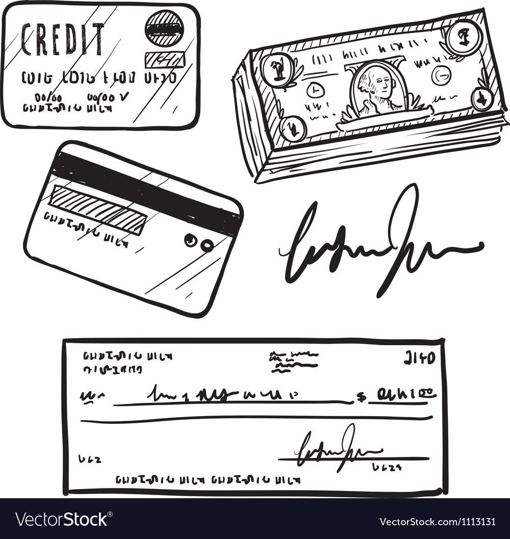 Doodle credit check cash vector image