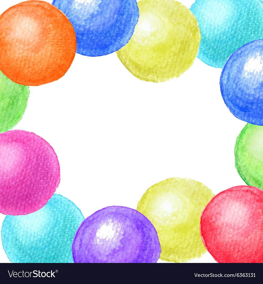 Frame of watercolor balls vector image