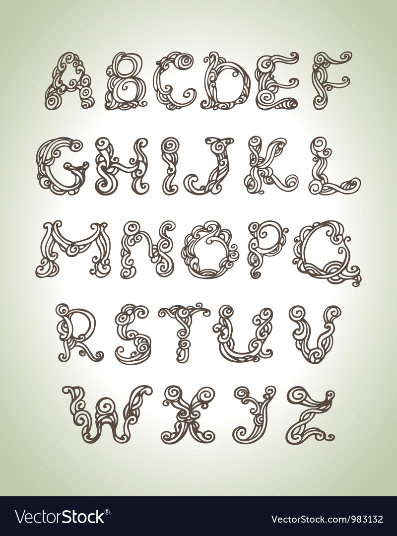 Swirly alphabet vector image