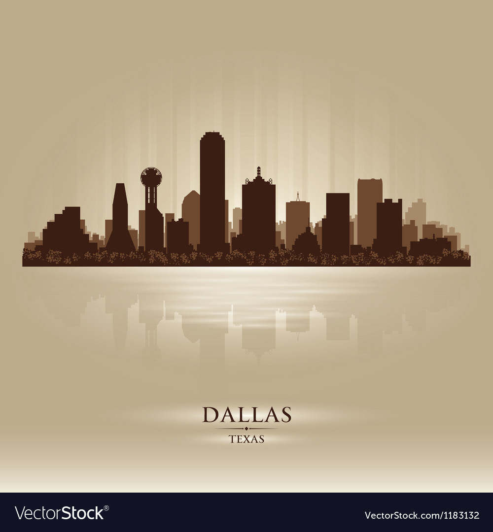 Dallas Texas skyline city silhouette vector image