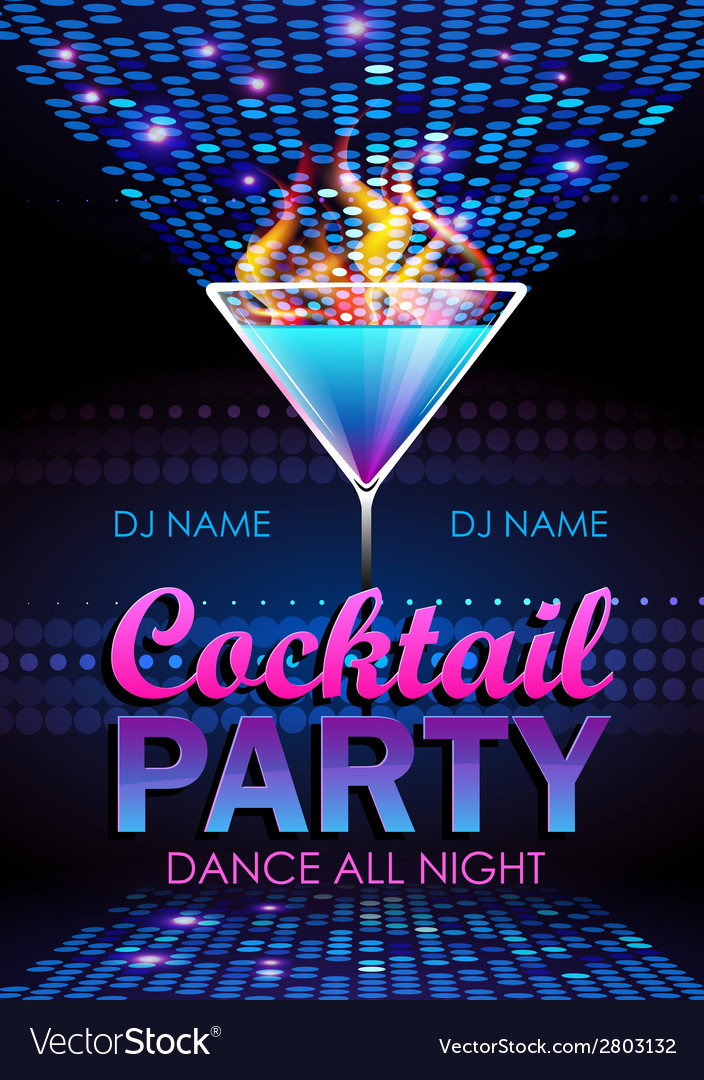 Disco background Cocktail party poster Royalty Free Vector