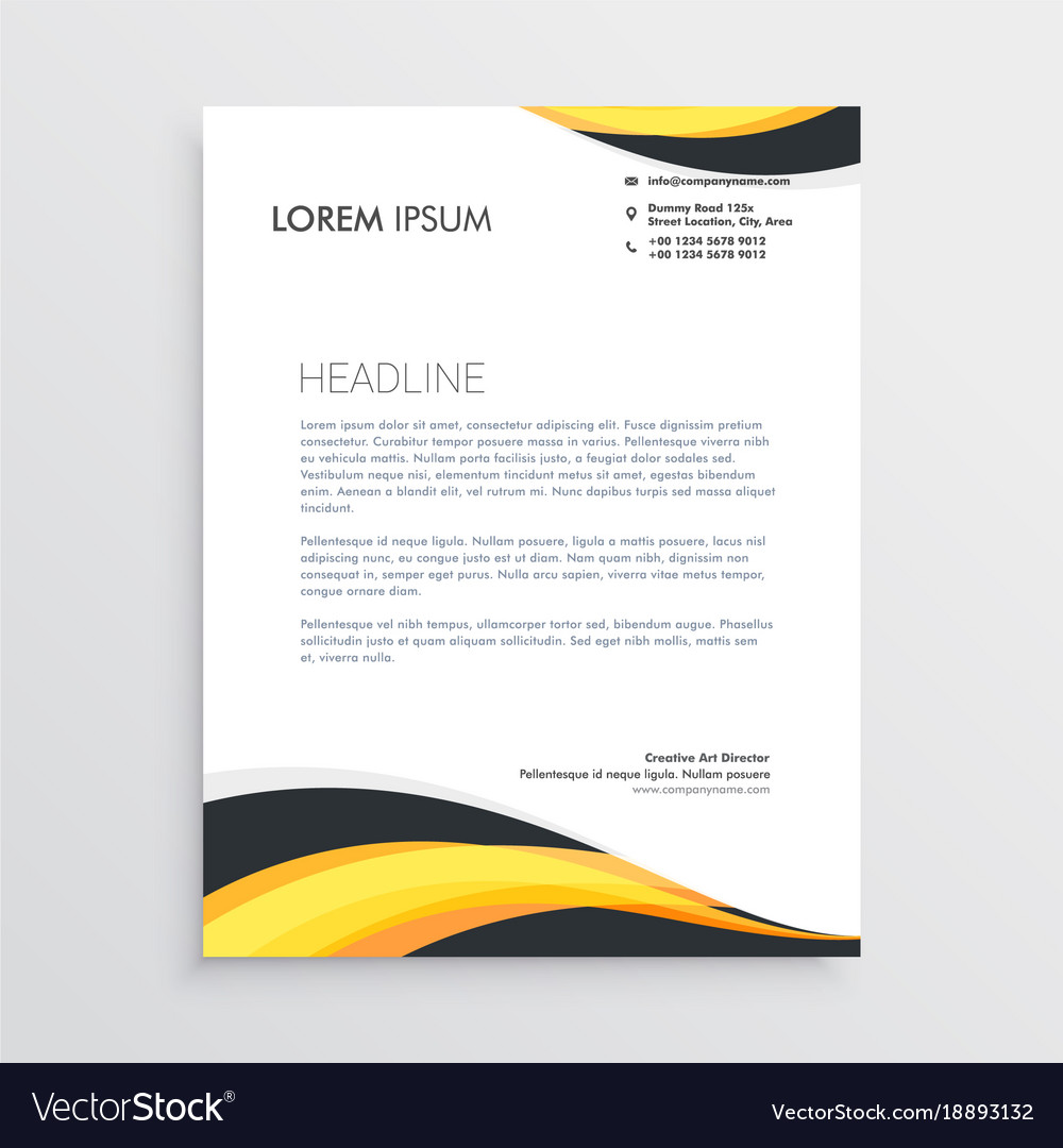Elegant yellow and gray waves letterhead template vector image thecheapjerseys Choice Image