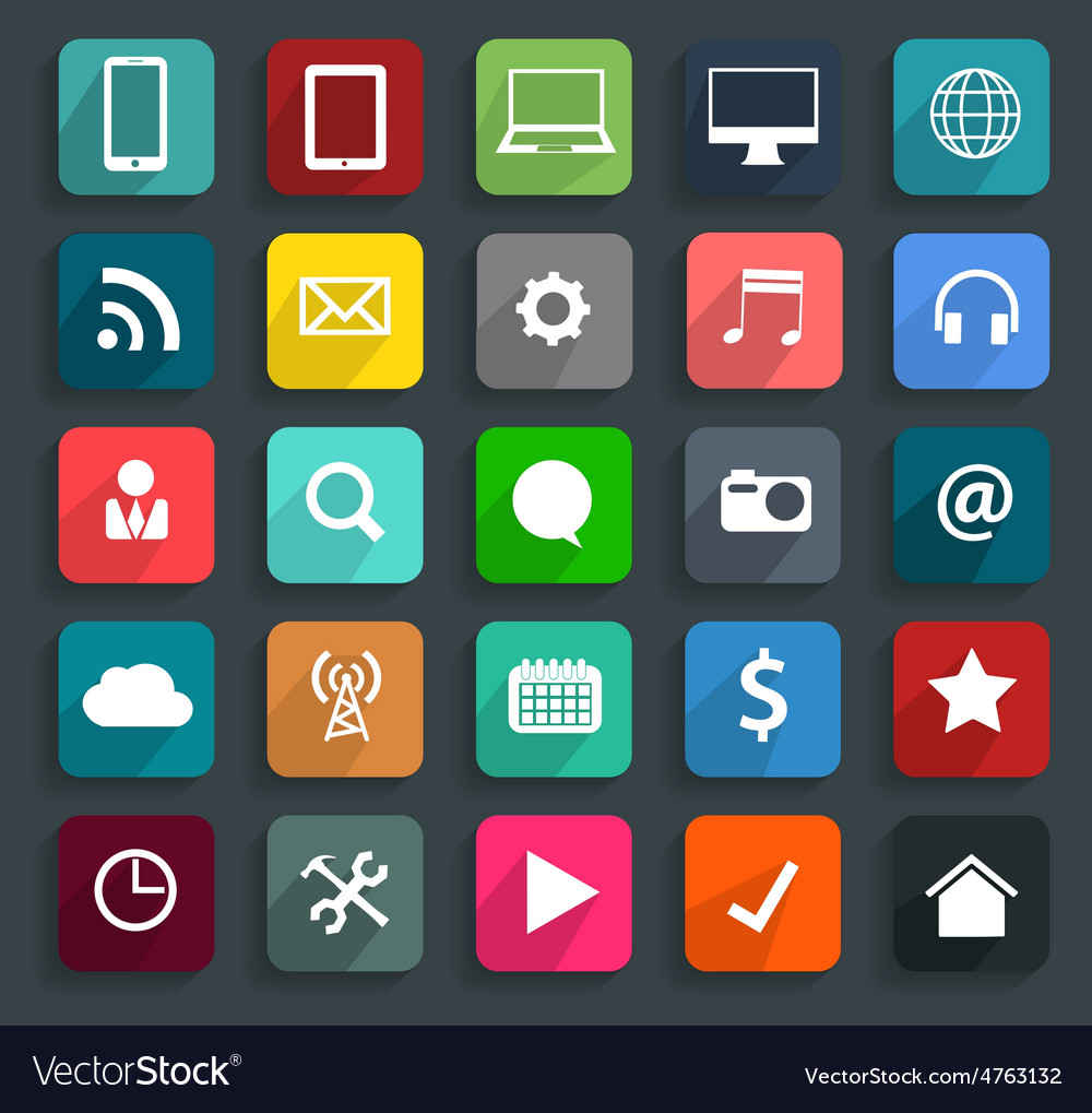Technology business flat icons modern template des vector image