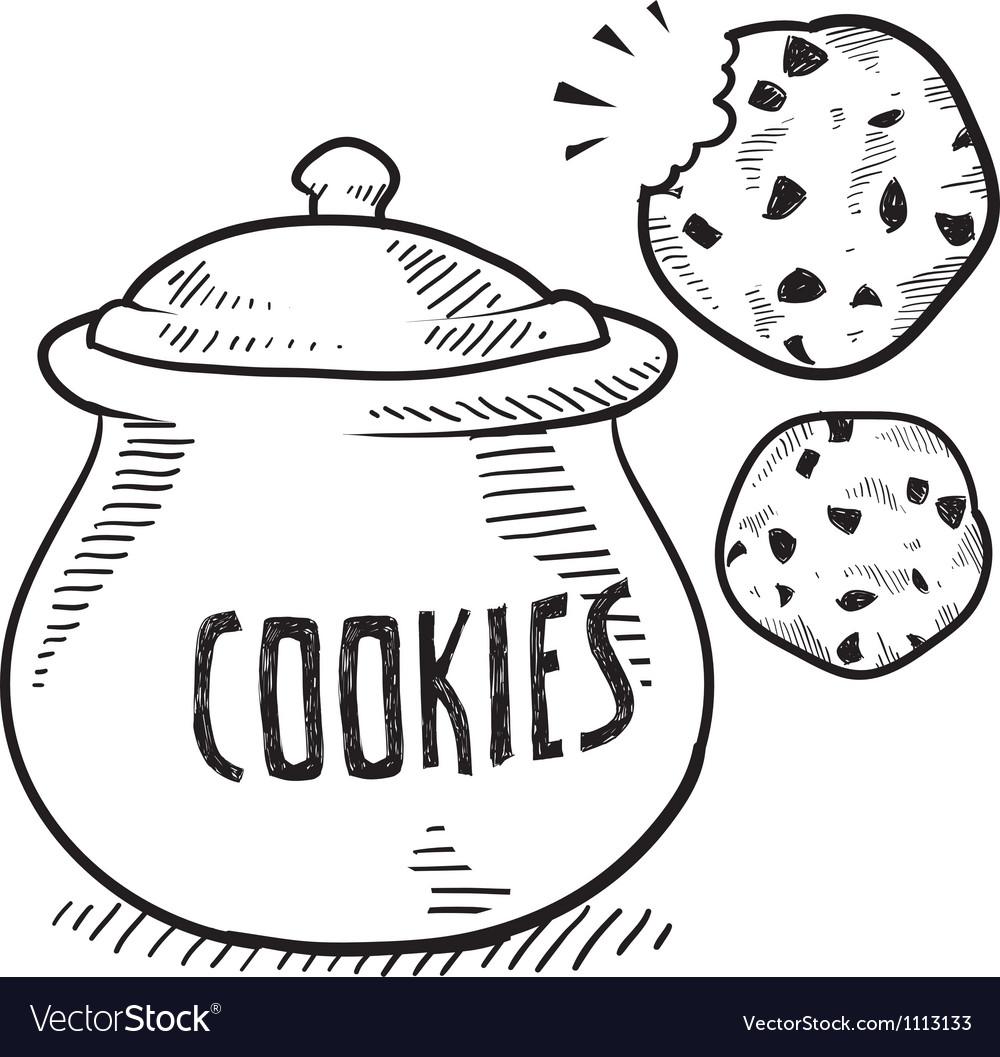 Doodle cookie jar vector image