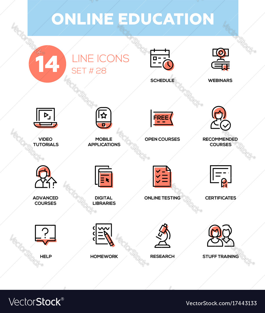 Online education - modern single line icons vector image