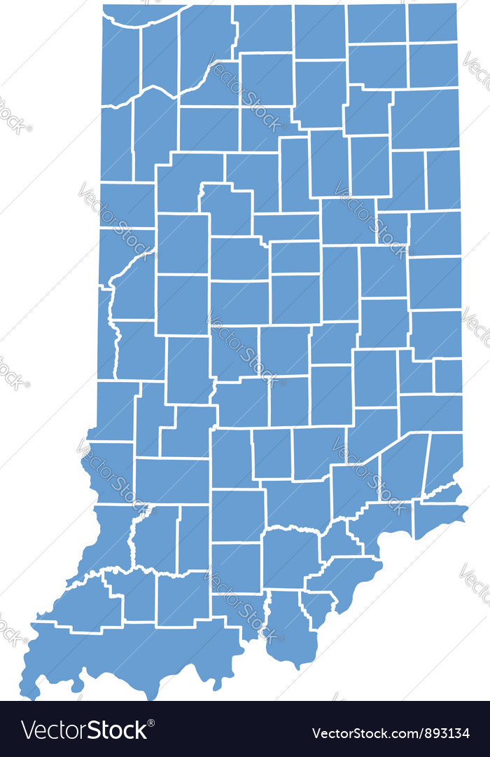 State Map of Indiana by counties vector image