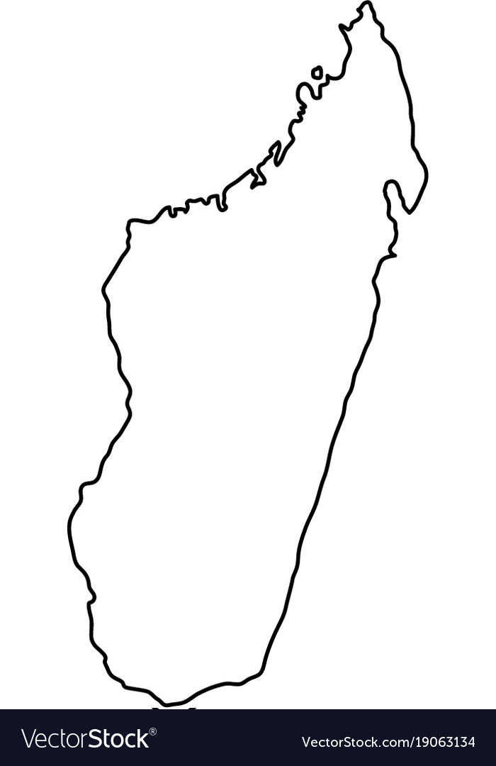 Madagascar map of black contour curves on white vector image