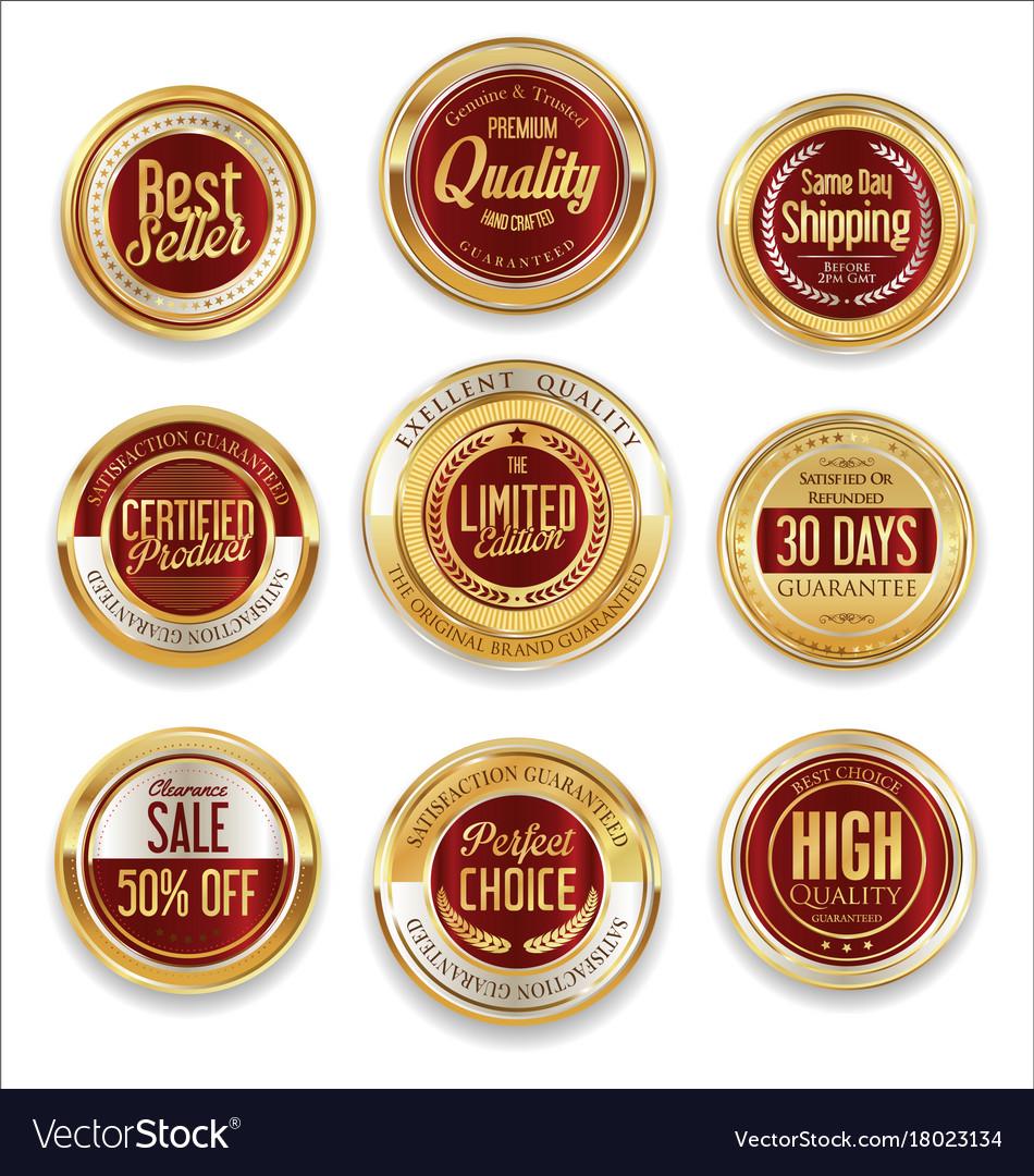 Sale retro vintage golden badges and labels 09 vector image