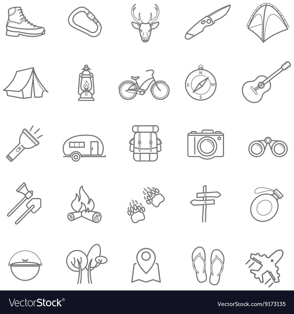 Summer camping icons set vector image