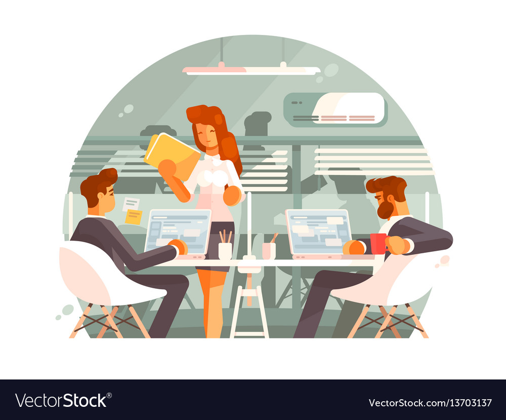 Workflow in business office vector image