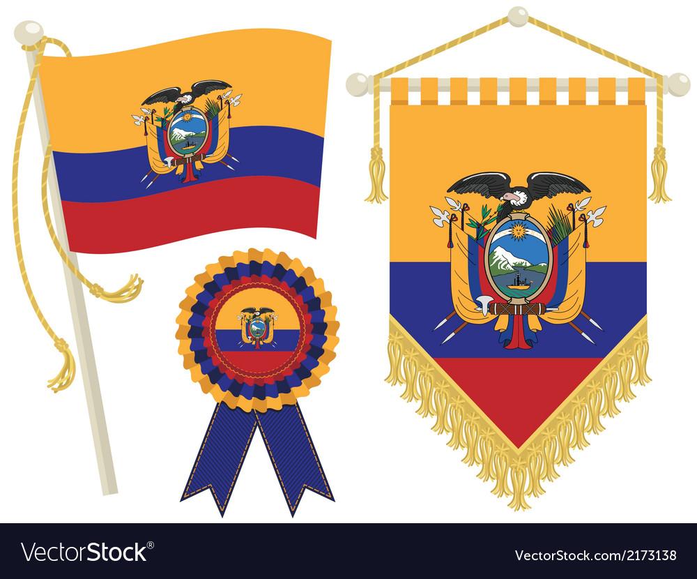 Ecuador Flags Royalty Free Vector Image VectorStock - Ecuador flags