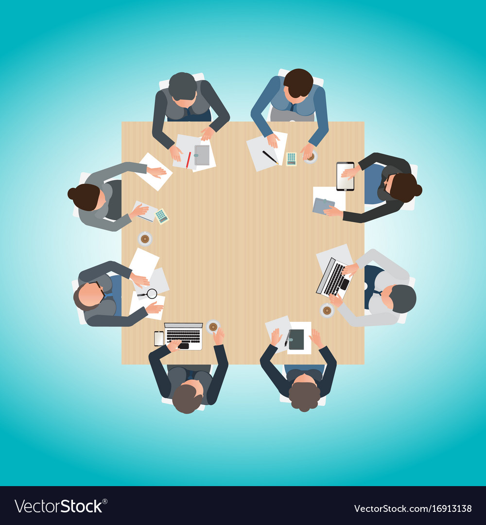 Top view of business meeting vector image