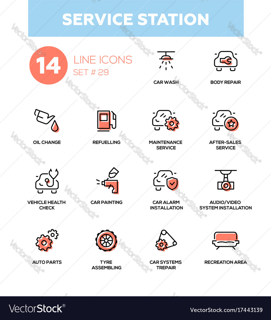 Service station - modern single line icons vector image