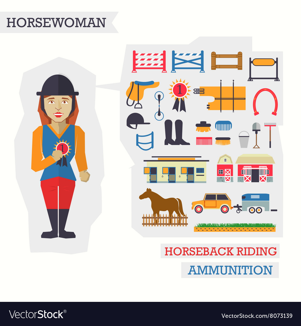 Set of elements for horseback riding with vector image