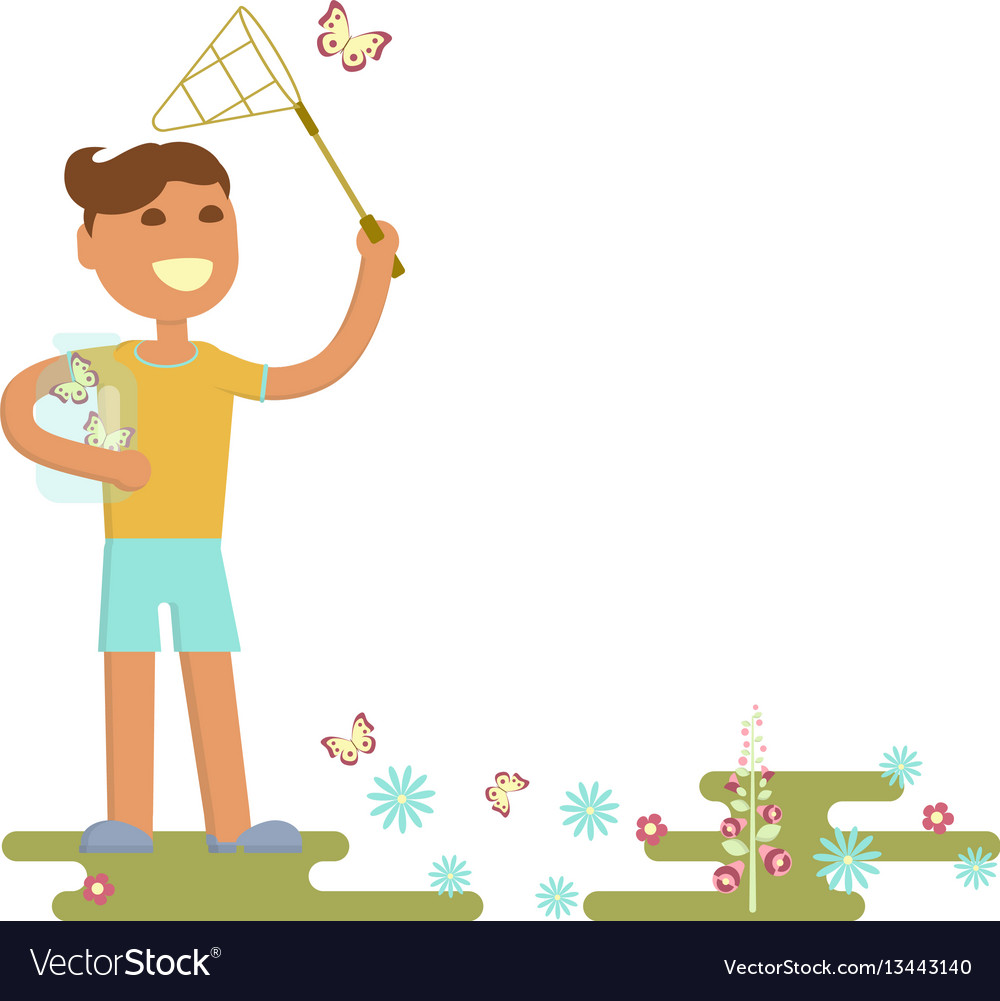 Boy is catching butterflies vector image
