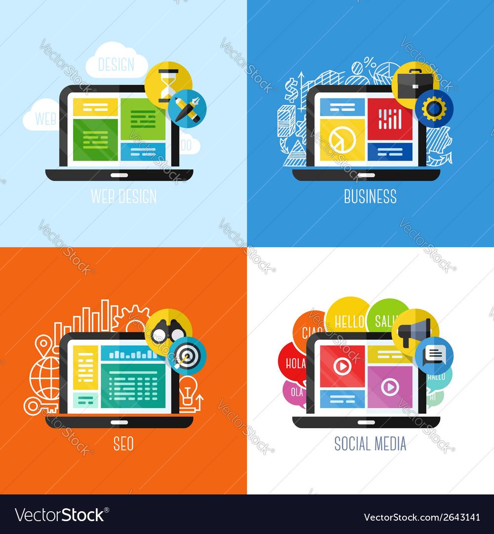 Concepts of web design business social media SEO vector image