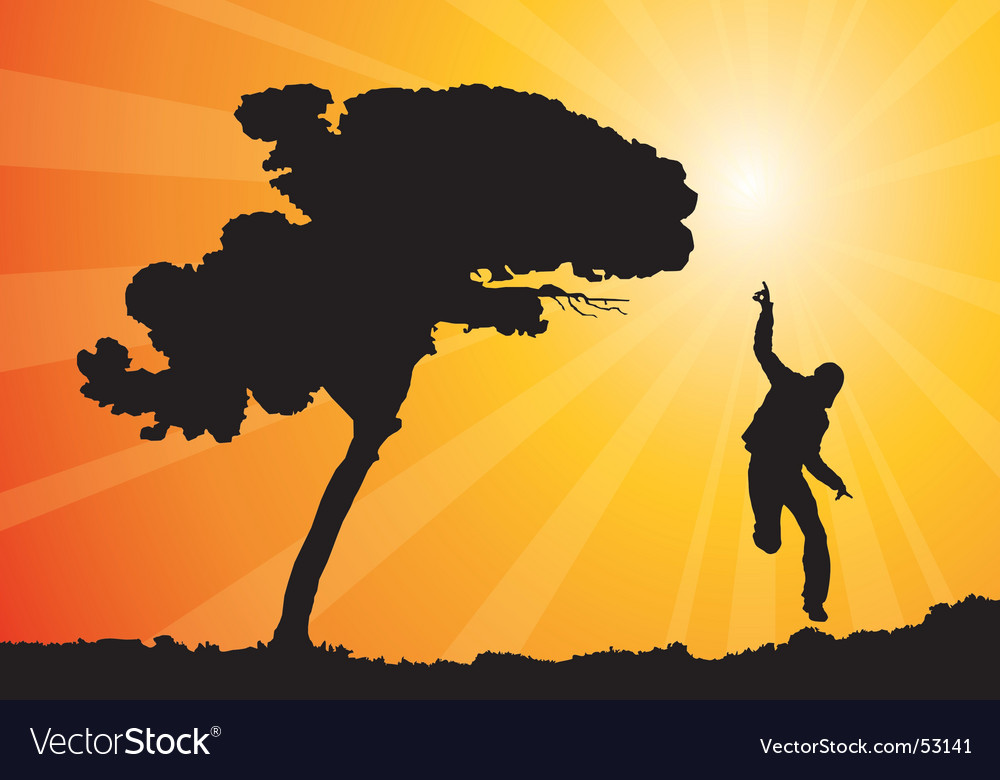 Happy man jumping illustration vector image