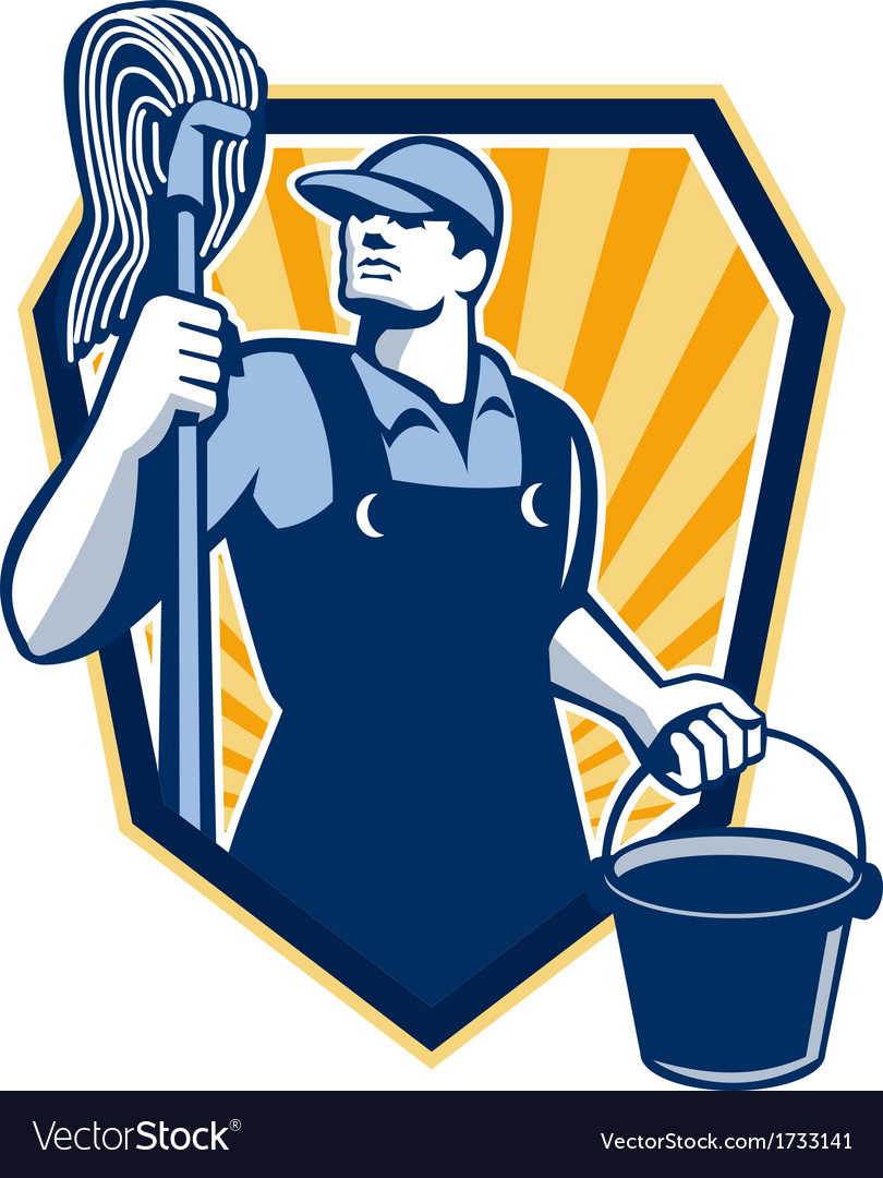 Janitor Cleaner Hold Mop Bucket Shield Retro vector image