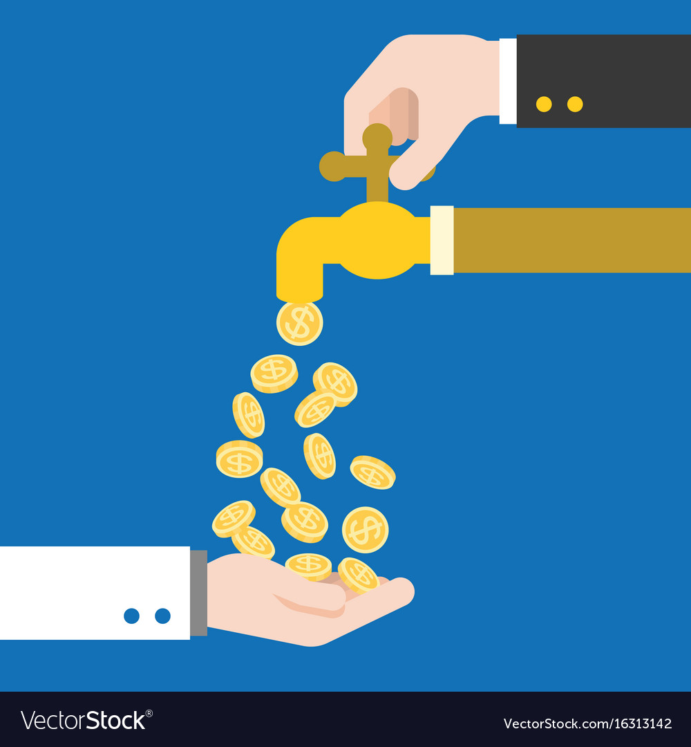 Hand open faucet with money falling out vector image