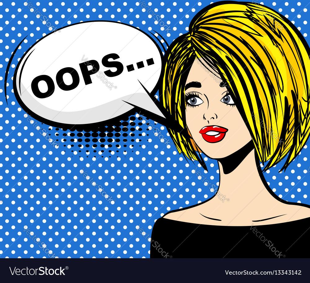 Surprised blonde pop art oops vector image