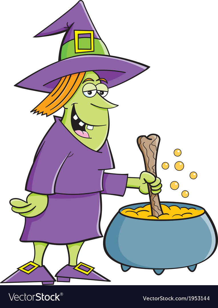 cartoon witch with cauldron royalty free vector image