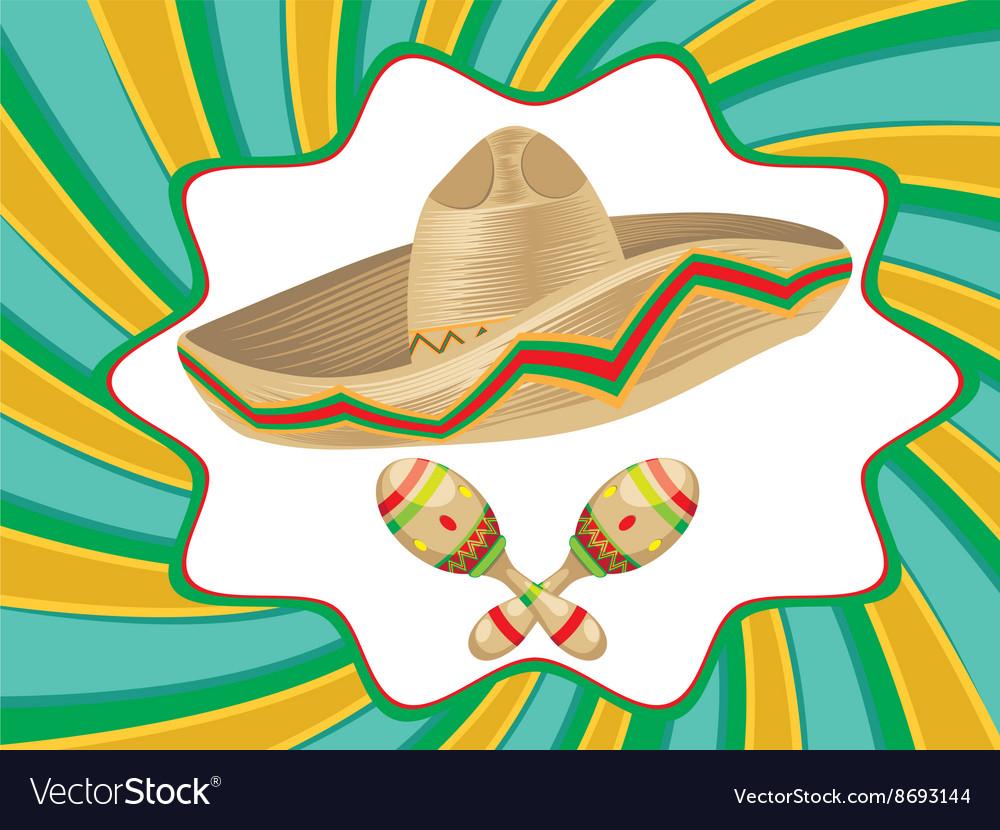 Sombrero and Maracas4 vector image