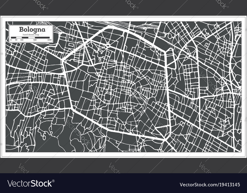 Bologna italy city map in retro style Royalty Free Vector