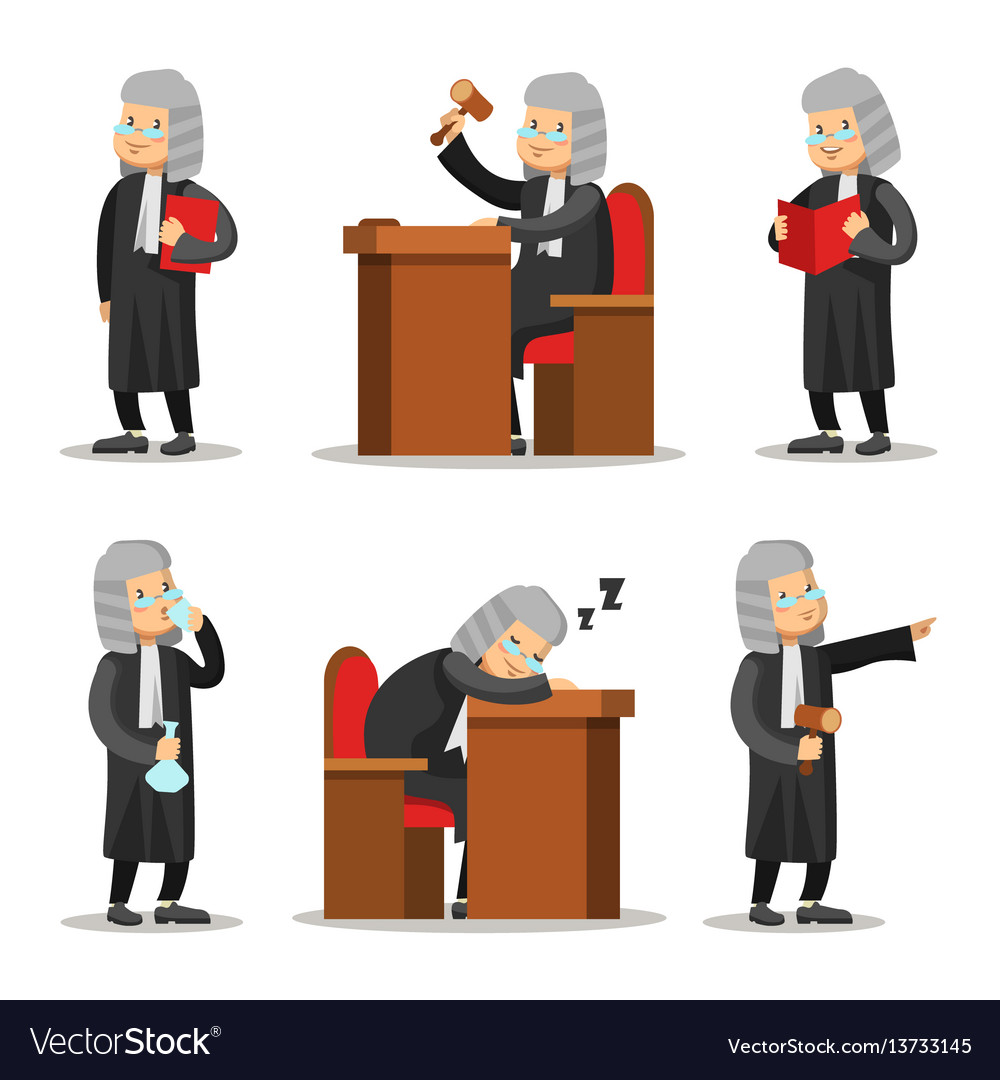 Judge cartoon character set law and justice vector image