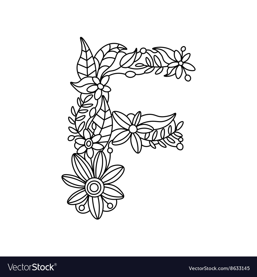 Letter F Coloring Book For Adults Royalty Free Vector Image