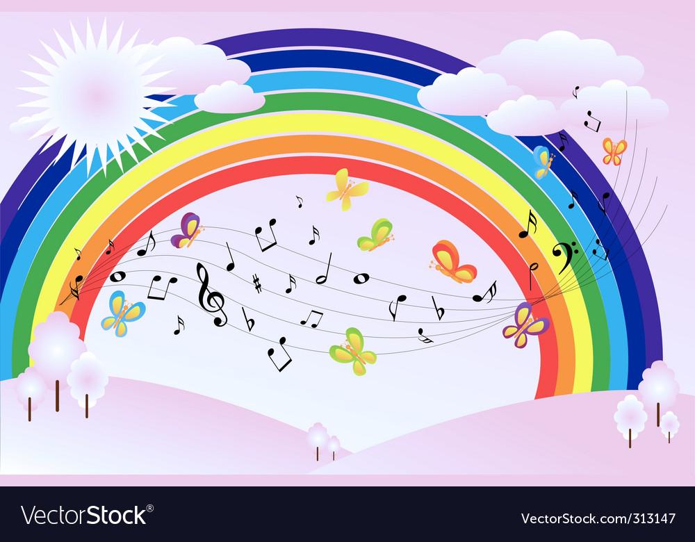 Music landscape vector image