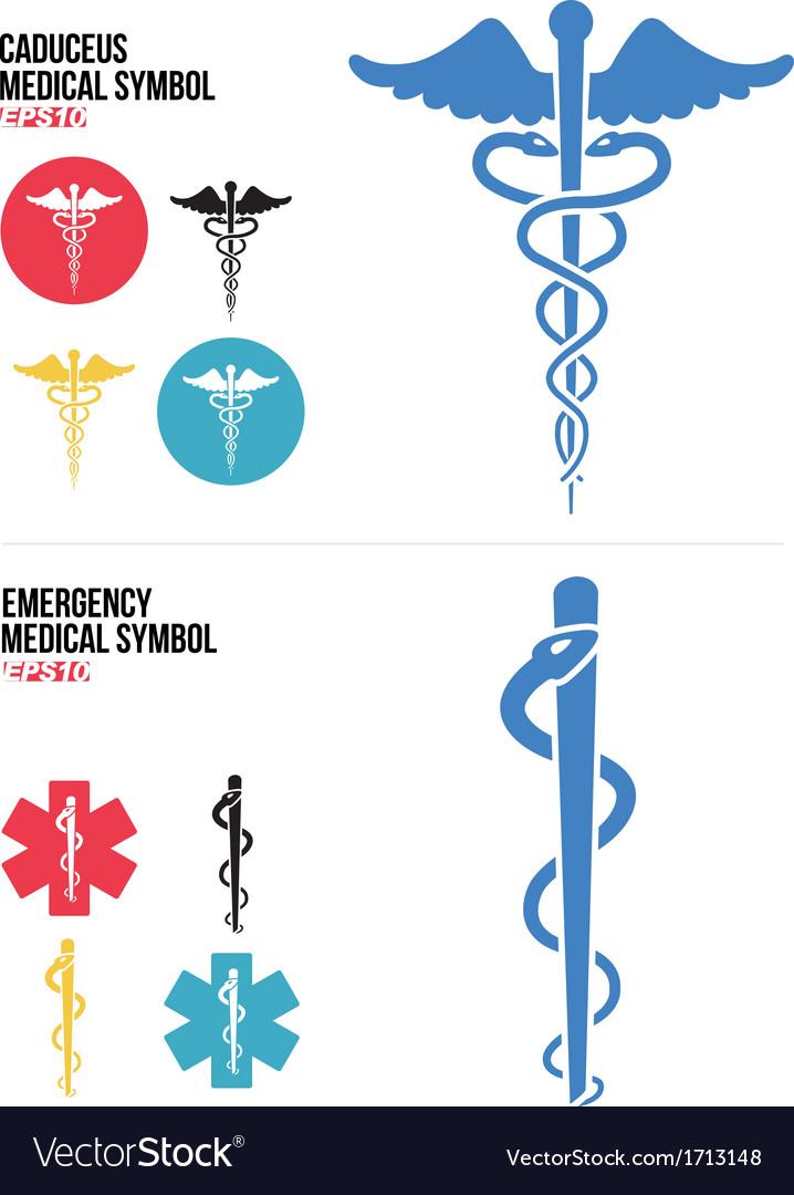 Caduceus Medical and Emergency Medical Symbols vector image