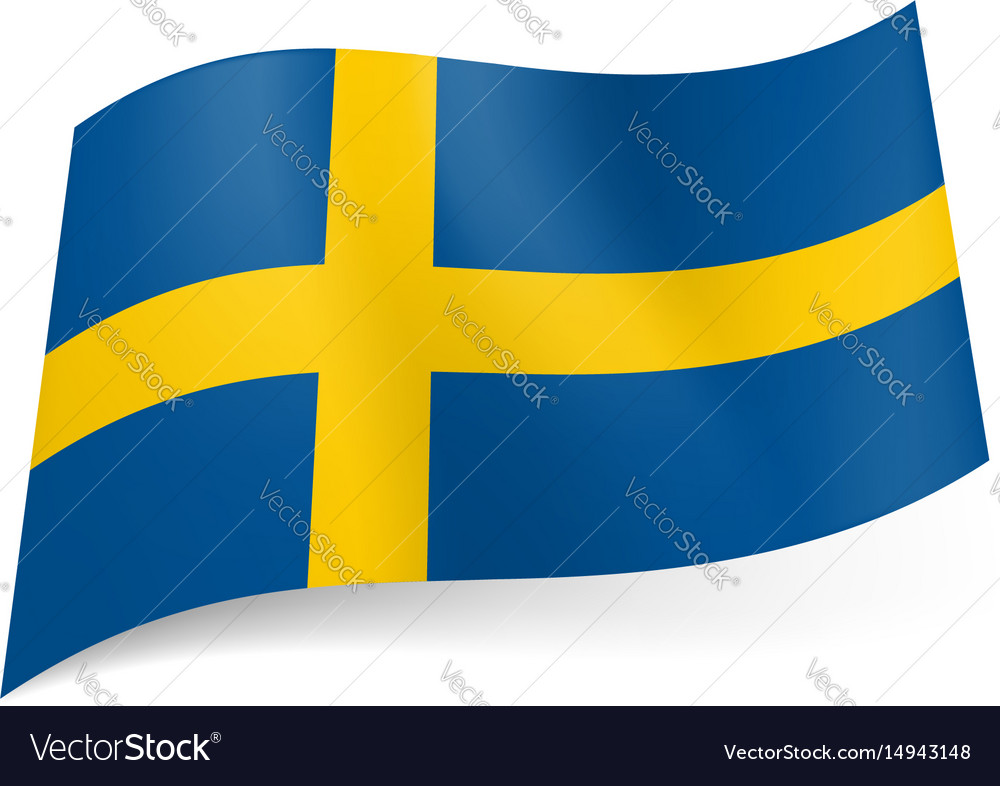 National flag of sweden yellow cross on blue vector image