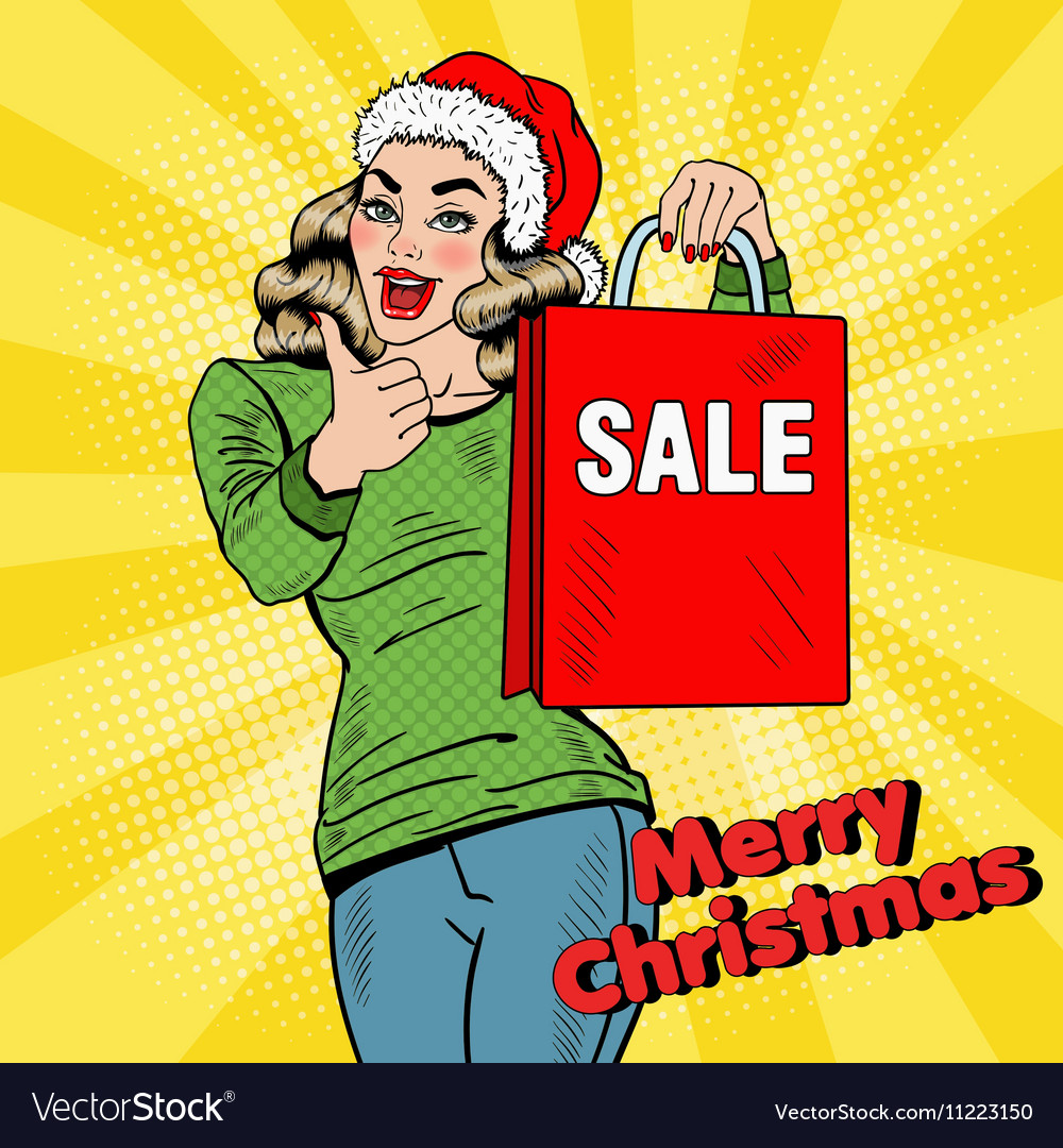 Pop Art Woman with Christmas Sale Shopping Bags vector image