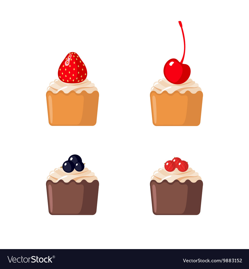 Set of mini cupcakes on white background vector image
