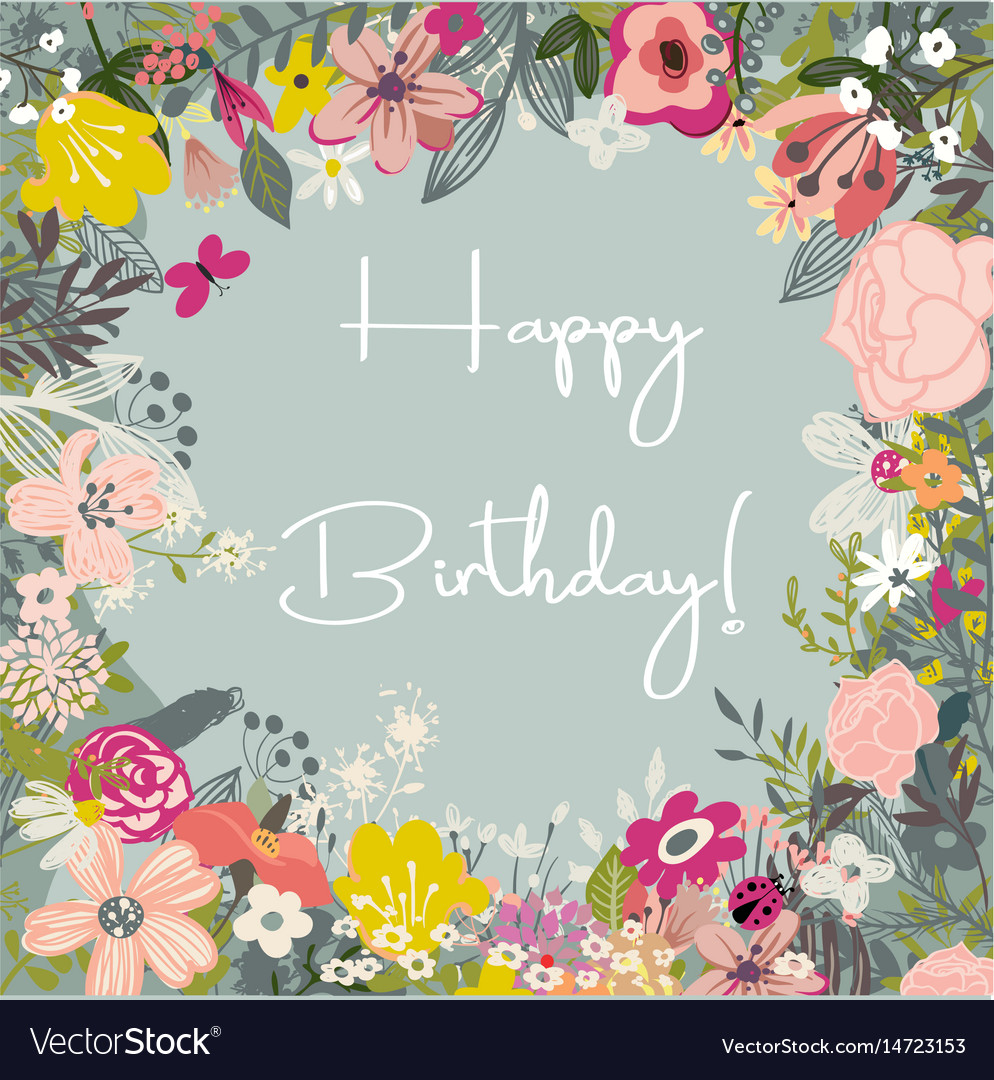 Beautiful card with flowers vector image
