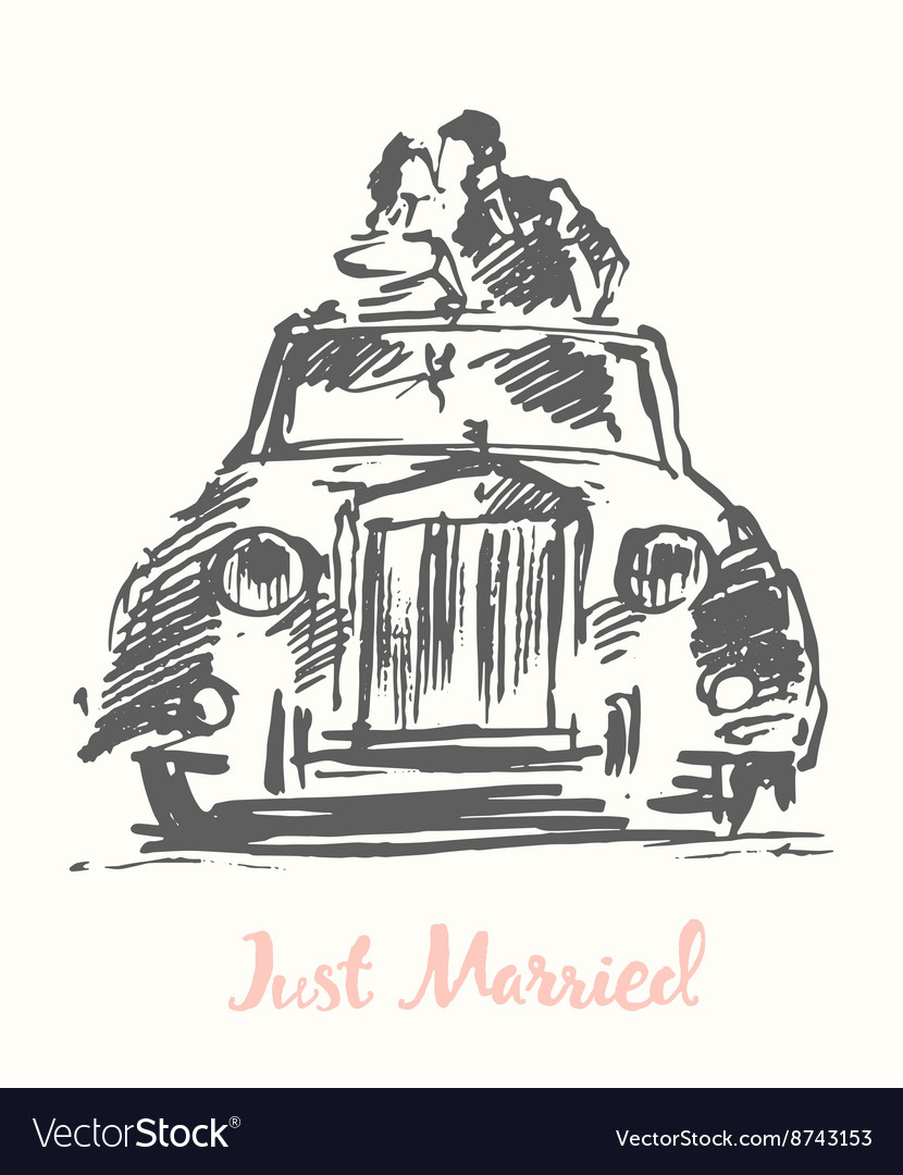 Drawn bride groom old fashioned car sketch Vector Image