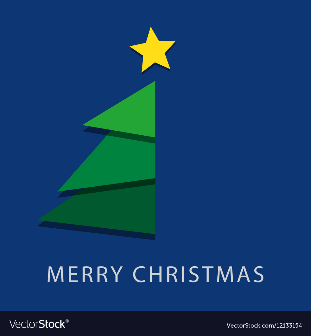 Blue wishes with text - Christmas tree and star vector image