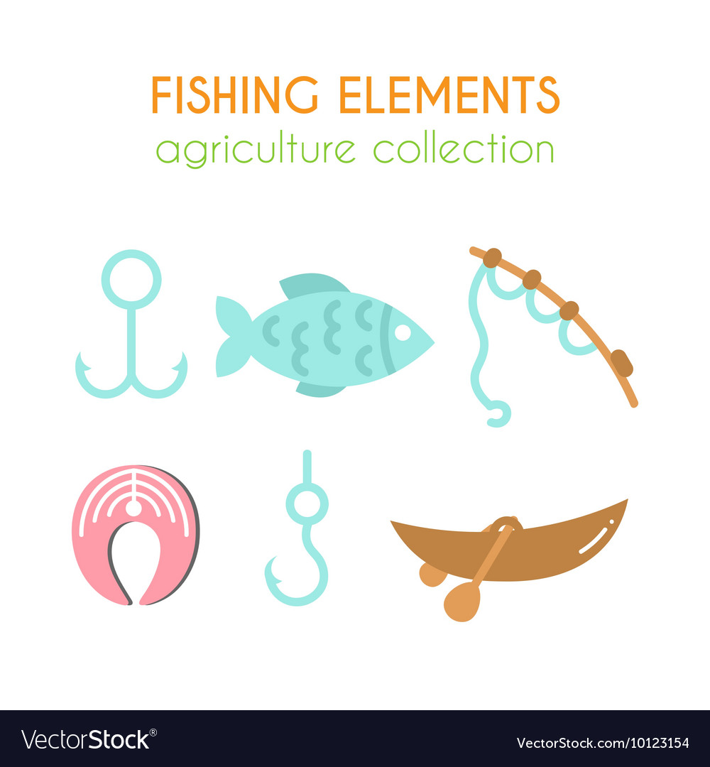 Fishing elements Boat with paddles vector image