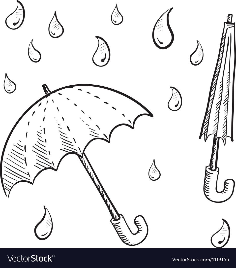 Doodle umbrella vector image