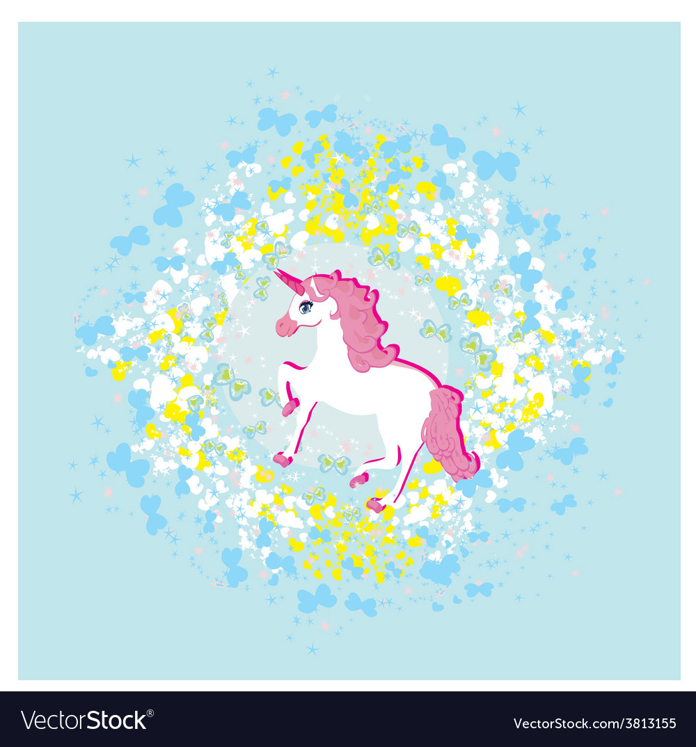 Beautiful pink Unicorn vector image